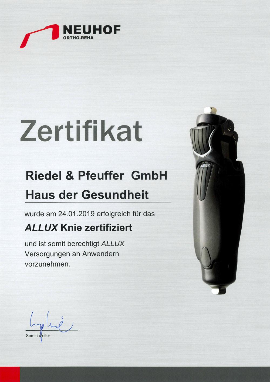 Zertifikat Neuhof ALLUX